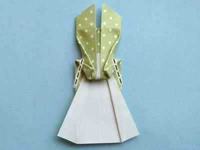 origami card dress step 11b