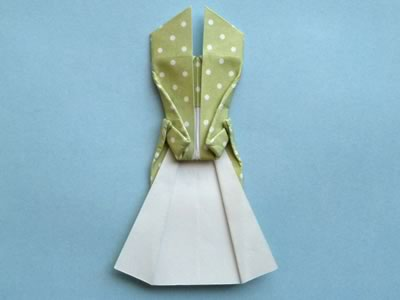 origami card dress step 11c