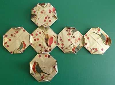 origami christmas ornaments gluing