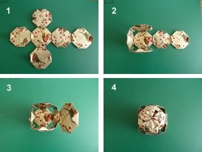 origami christmas ornaments glue sequence