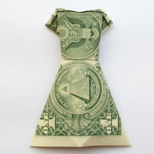 money origami dress