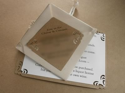origami heart engagement invitation inside