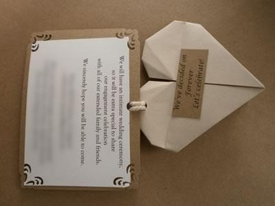 origami heart engagement invitation back