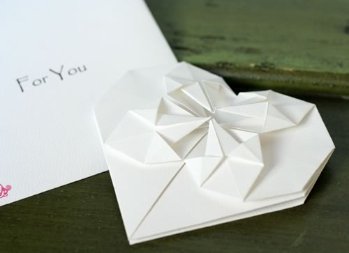 origami heart love note close up
