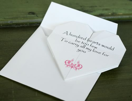 Origami Heart Love Note And Open Envelope