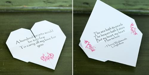 origami heart love note front and back