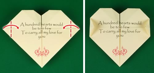origami heart love note step 11