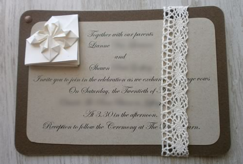 origami heart wedding invitation front page