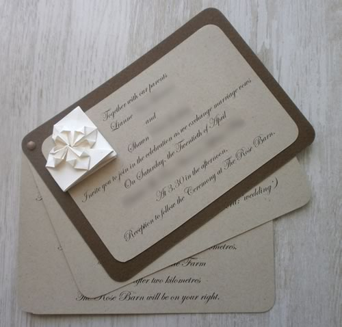 origami heart wedding invitation three pages