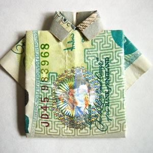 simple money origami shirt