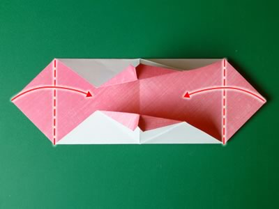 kissing lips origami valentine card step 10
