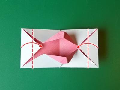kissing lips origami valentine card step 11