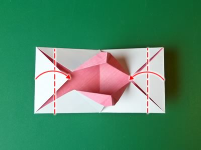 kissing lips origami valentine card step 11