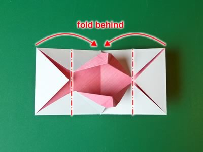 kissing lips origami valentine card step 11b