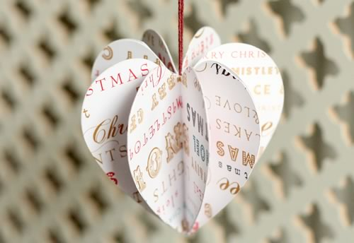 paper christmas ornament heart