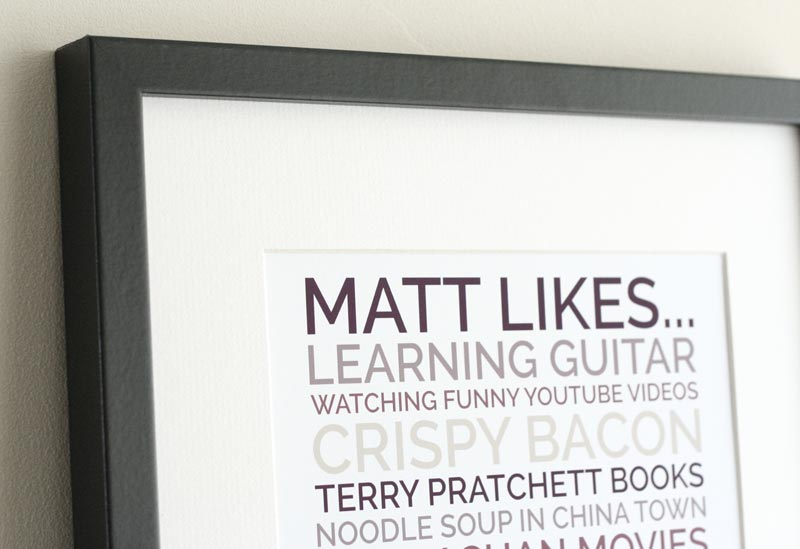 personalised likes poster for a guy