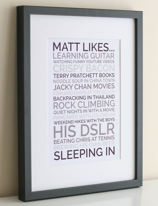 personalised likes poster boyfriend gift