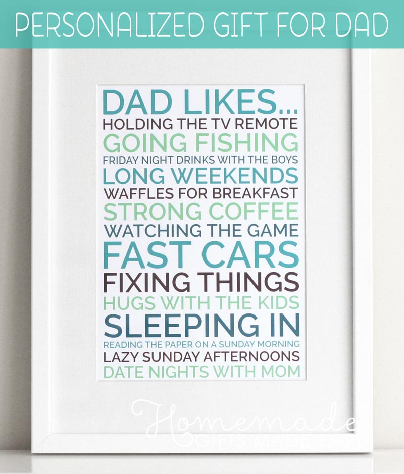 Dad Likes Poster   Personalized Fathers Day Gift