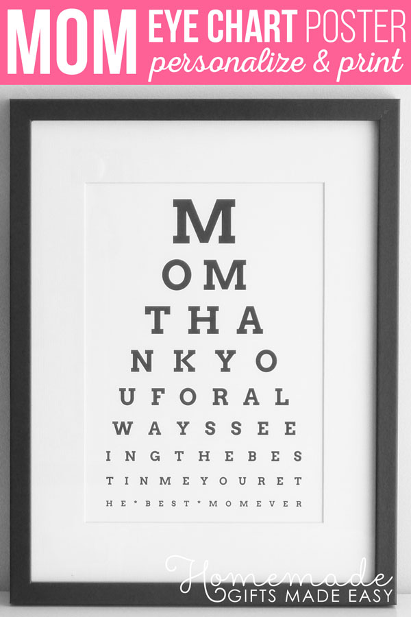 photograph regarding Eye Chart Printable named Do-it-yourself Eye Chart - Custom made Moms Working day Reward