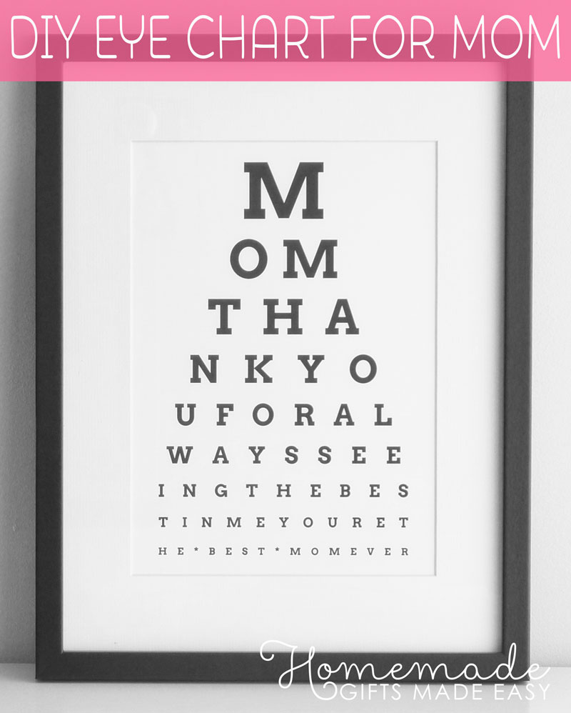 Diy eye chart personalized mothers day gift Good ideas for christmas gifts for your mom