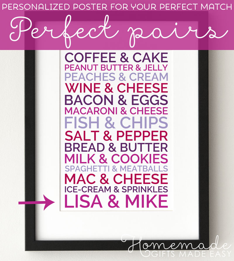 personalized perfect pairs poster boyfriend gift