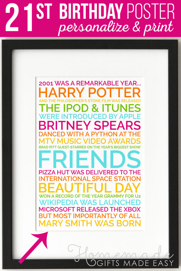 Personalized 21st Birthday Poster Gift