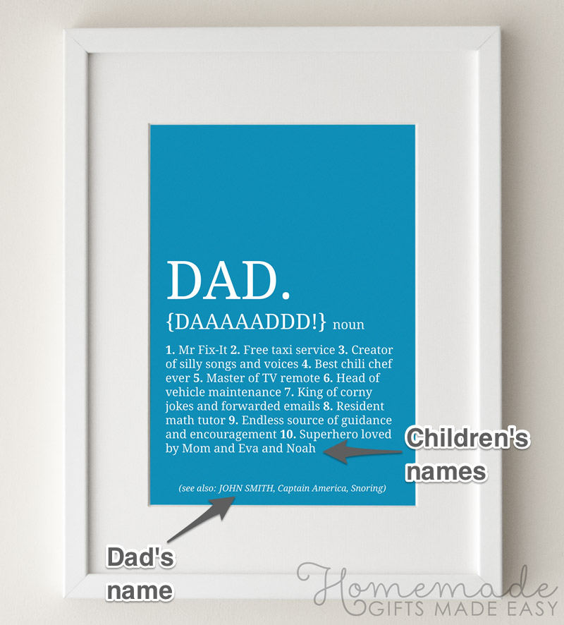 dad definition personalized poster