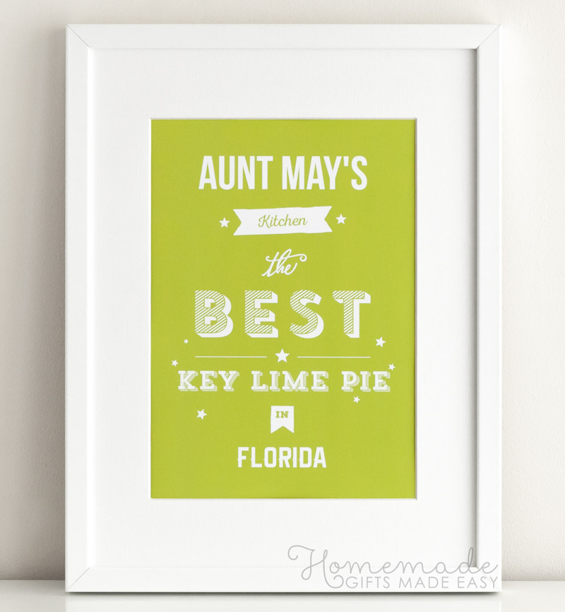 personalized poster Aunt May's Kitchen the best Key Lime Pie in Florida
