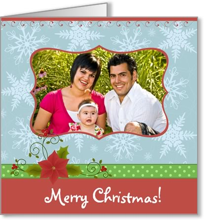 photo insert Christmas card green ribbon
