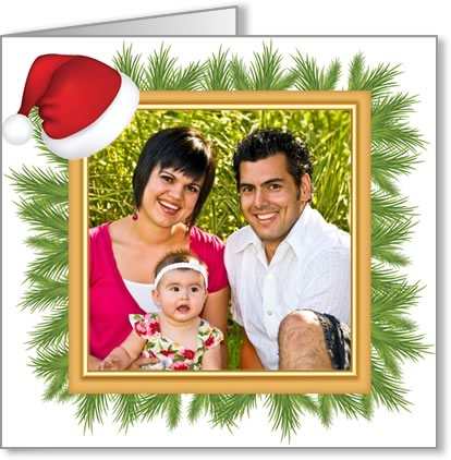 photo insert Christmas card santa hat frame