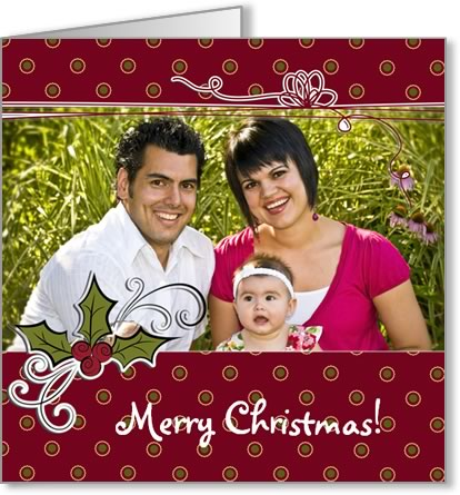 photo insert Christmas card polkadots