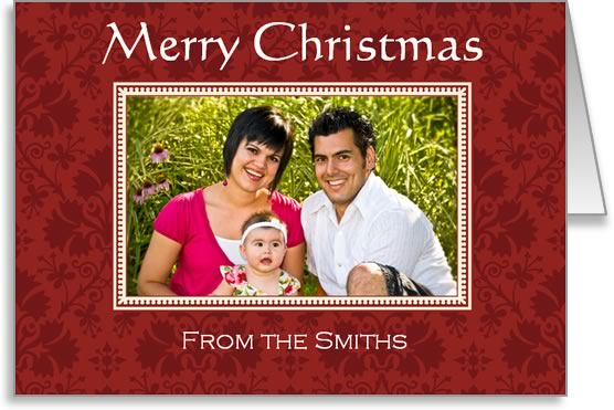 photo insert Christmas card red frame