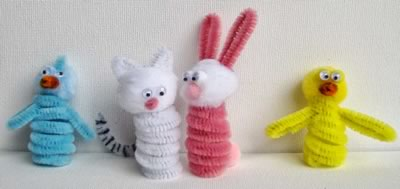 pipe cleaner animals bird cat rabbit and chick