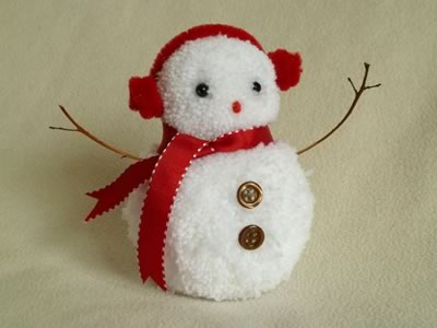 snowman christmas crafts - red pom pom snowman
