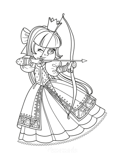 Princess Coloring Pages Bow Arrow