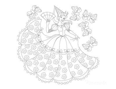 Princess Coloring Pages Butterflies