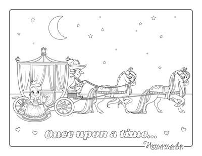 Princess Coloring Pages Carriage Horses Princess