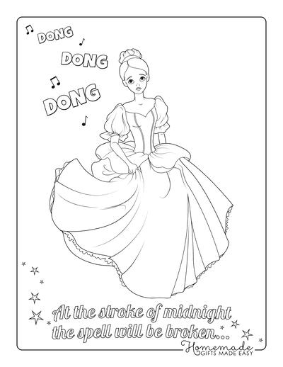 Princess Coloring Pages Cinderella Running