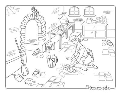 Princess Coloring Pages Cinderella Scrubbing Kitchen Floor