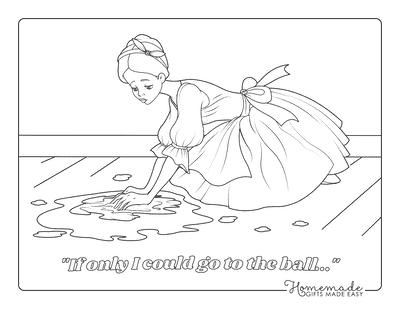 Princess Coloring Pages Cinderella Washing Floors
