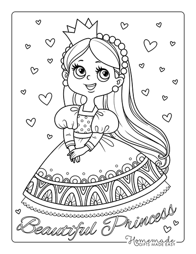 Princess Coloring Pages Cute Hearts
