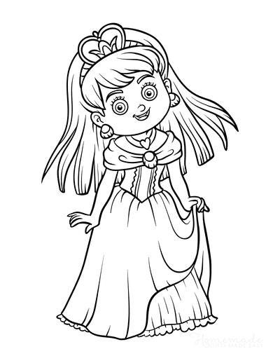 Princess Coloring Pages Cute Princess Heart Necklace