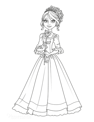 Princess Coloring Pages Cute With Rose