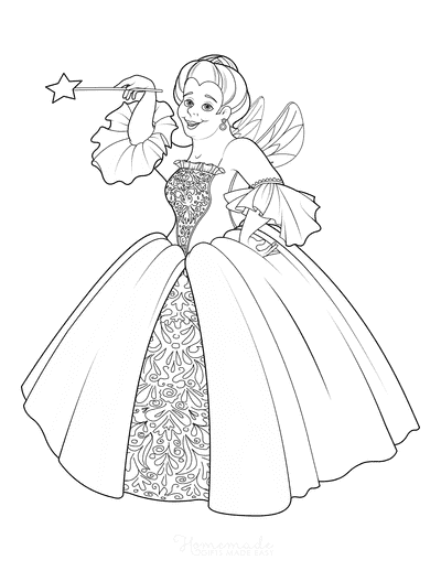 Princess Coloring Pages Fairy Godmother