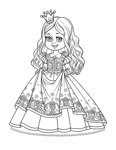 Princess Coloring Pages Frilly Dress Cute