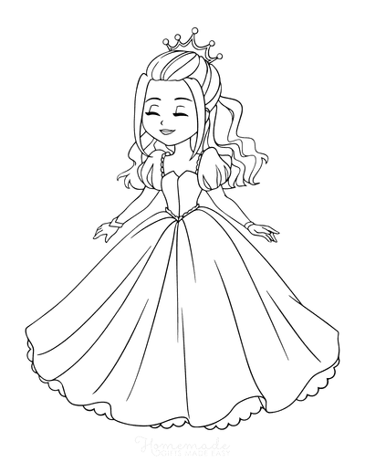 Princess Coloring Pages Frilly Dress Long Hair