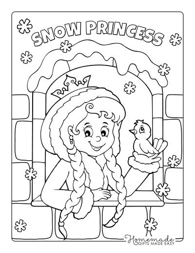 Princess Coloring Pages Frozen Snowflakes