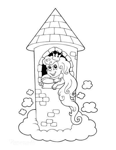 Princess Coloring Pages in Tall Tower Flowing Hair