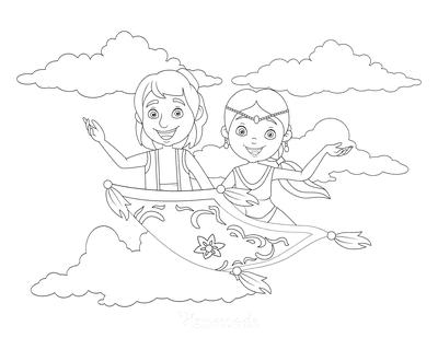 Princess Coloring Pages Jasmine Aladdin Flying Carpet