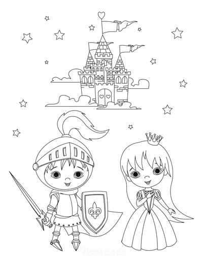 Princess Coloring Pages Knight Princess Castle